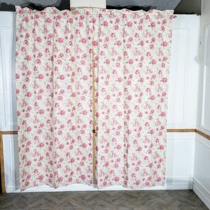 Vtg West Point Stevens Curtains Panels Pink Roses